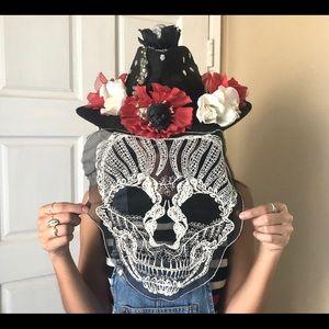 Dia de Los muertos cowboy black hat roses skull